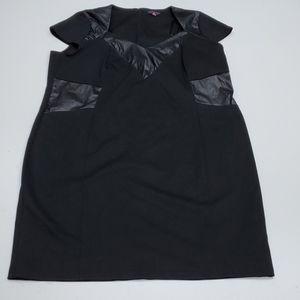 22 ANNA SCHOLZ BLACK SHEATH DRESS W VEGAN TRIM